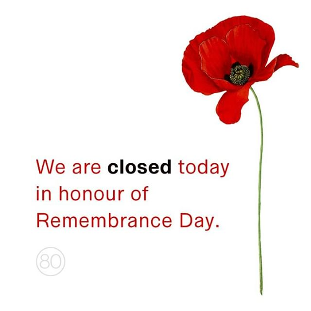 Agency 80 will be closed today in honour of Remembrance Day. We remember those who served and sacrificed for the future of our country. Thank you.