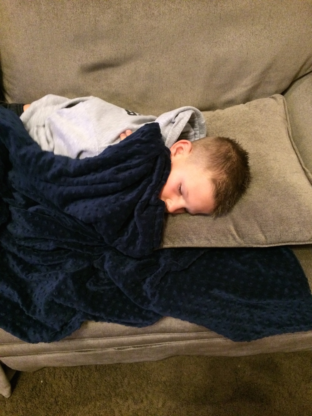 Daxton (8) sick with stomach ache and sore throat