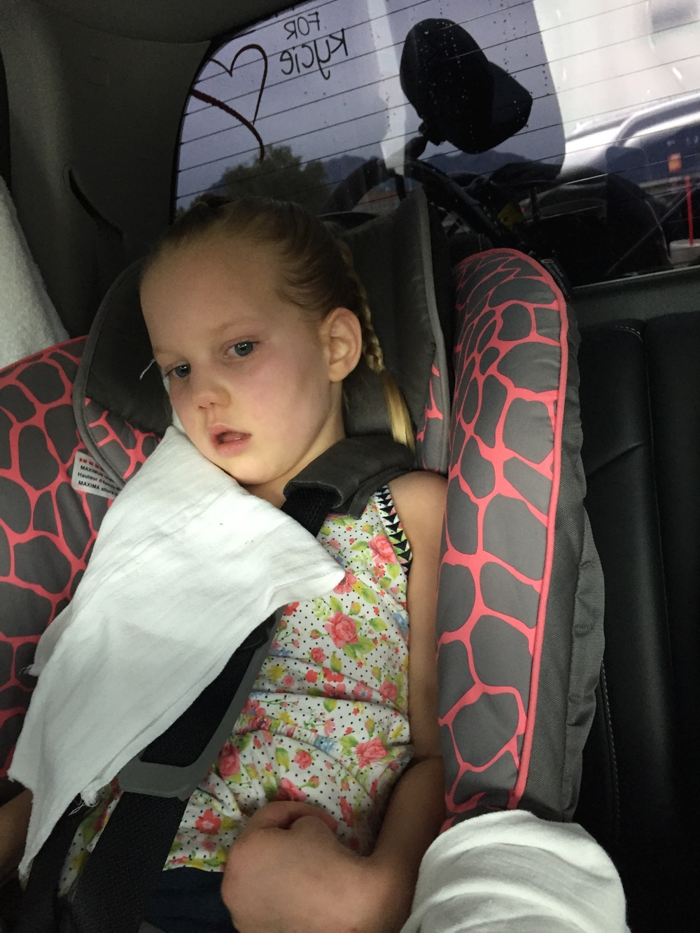 Kycie loaded in her car seat on July 8th, 2015 for her ride back to St. George.