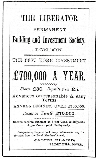 1887 advert for the Liberator Building Society in Dover, from  The Dover Historian