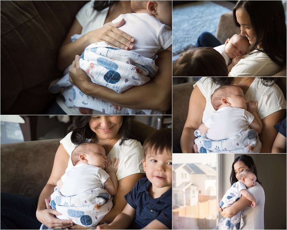 Mom holding new newborn baby for lifestyle newborn photography in Bothell