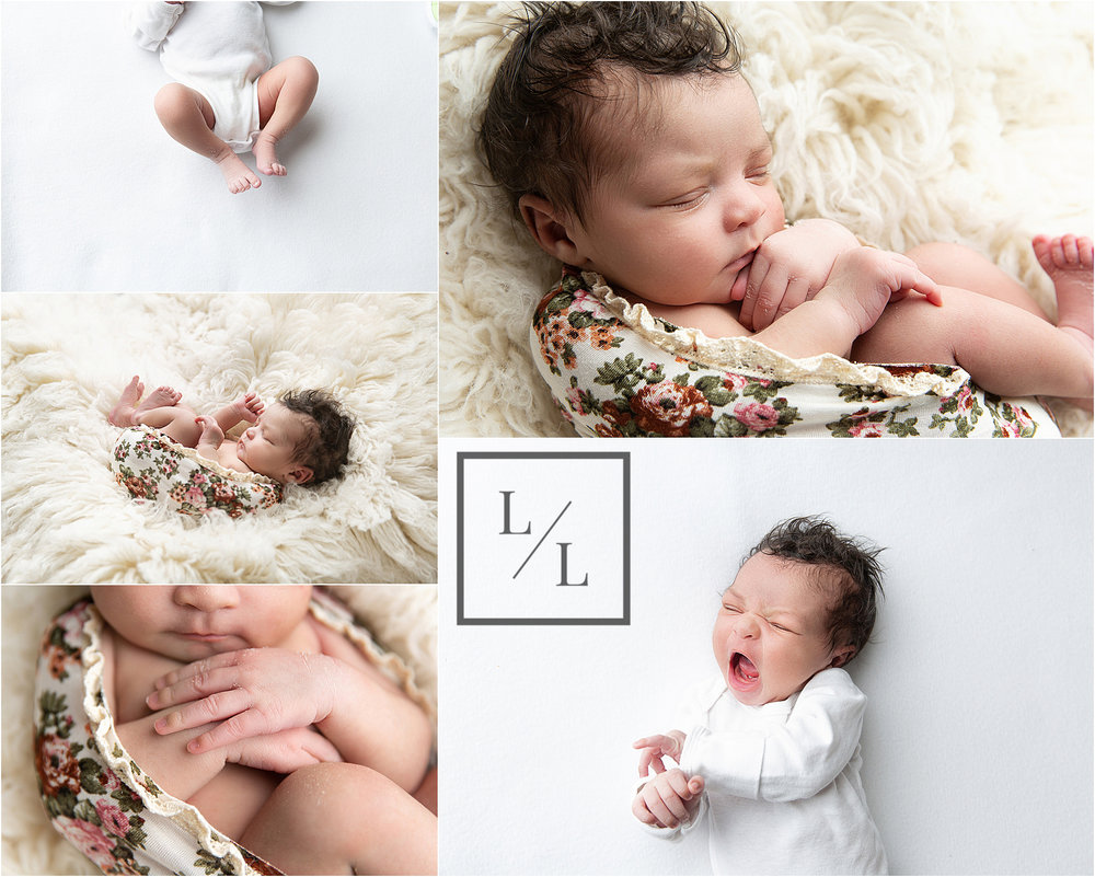 Baby led posing on natural backdrop Seattle newborn.jpg