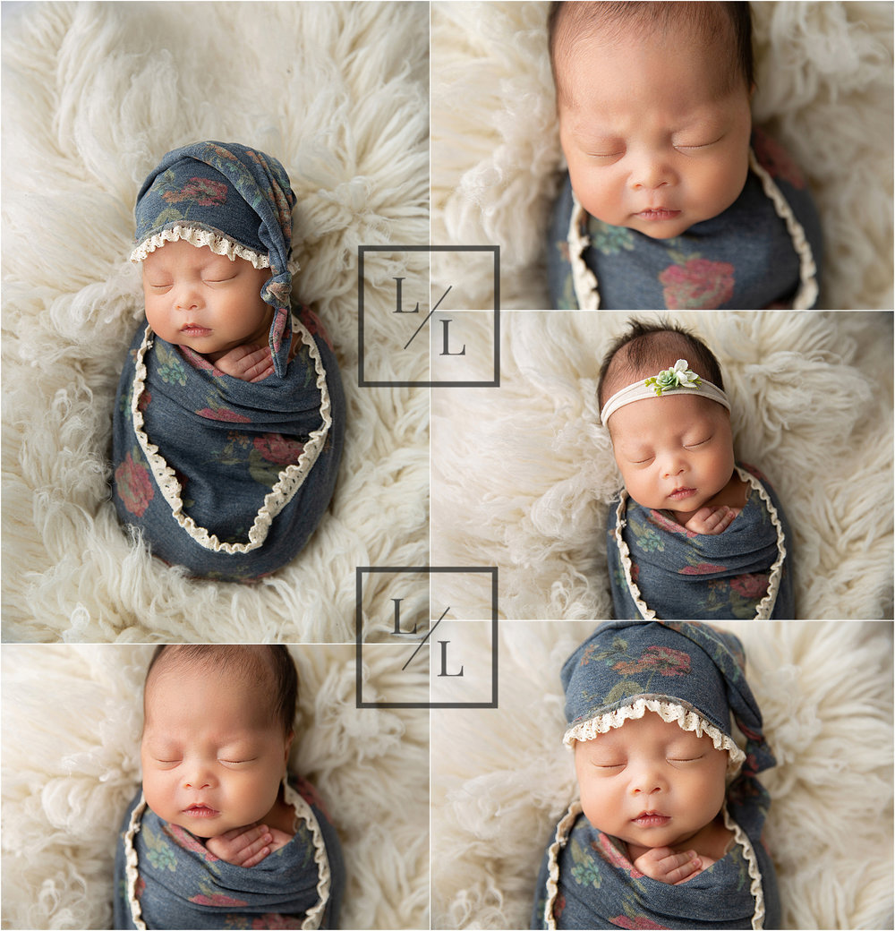 Baby girl portraits with floral wrap and cream flokati.jpg