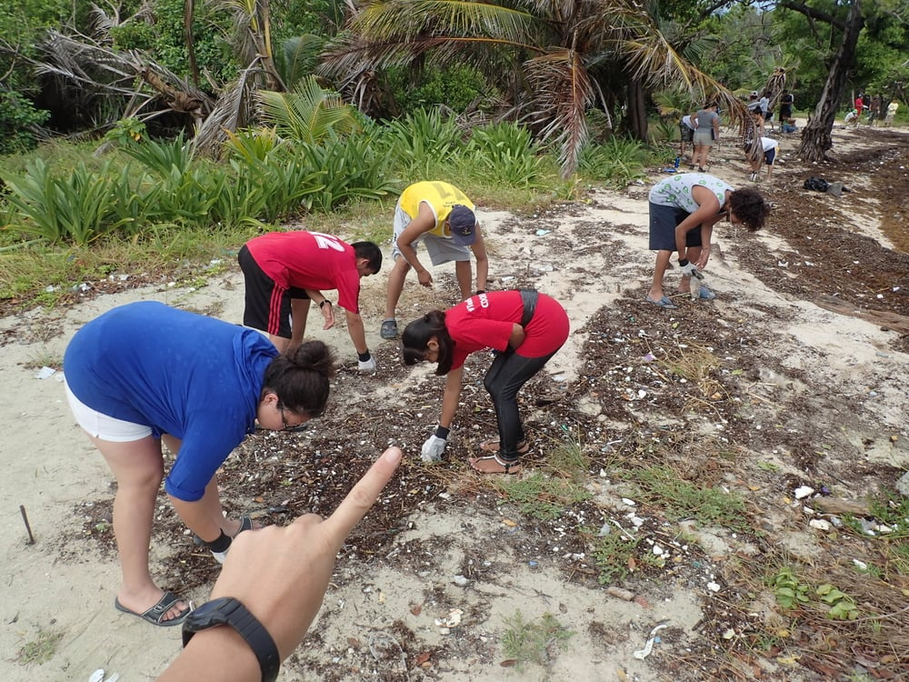 Ecology Project International Students help to collect data and clean the beach on Blackbird Caye. This work contributes to the new  online map platform .