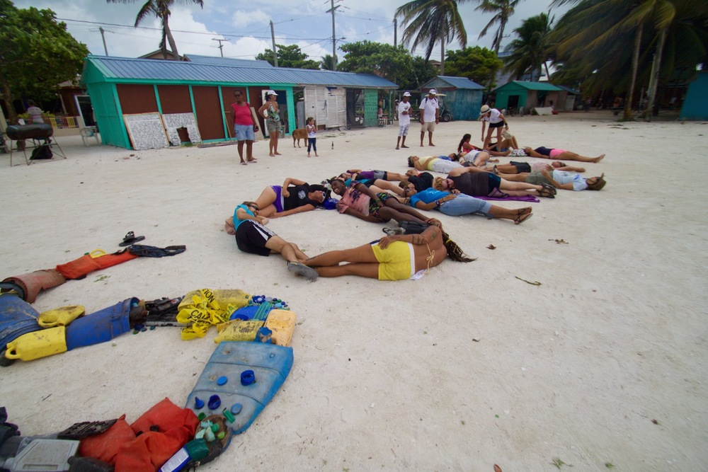 The Plastic Free Belize campaign included a network of Belize locals, Paulita Bennett-Martin (Emory University) and Pam Longobardi (Distinguished GSU Professor). Together public art installations were designed and implemented in areas where data collection and cleanups occurred.