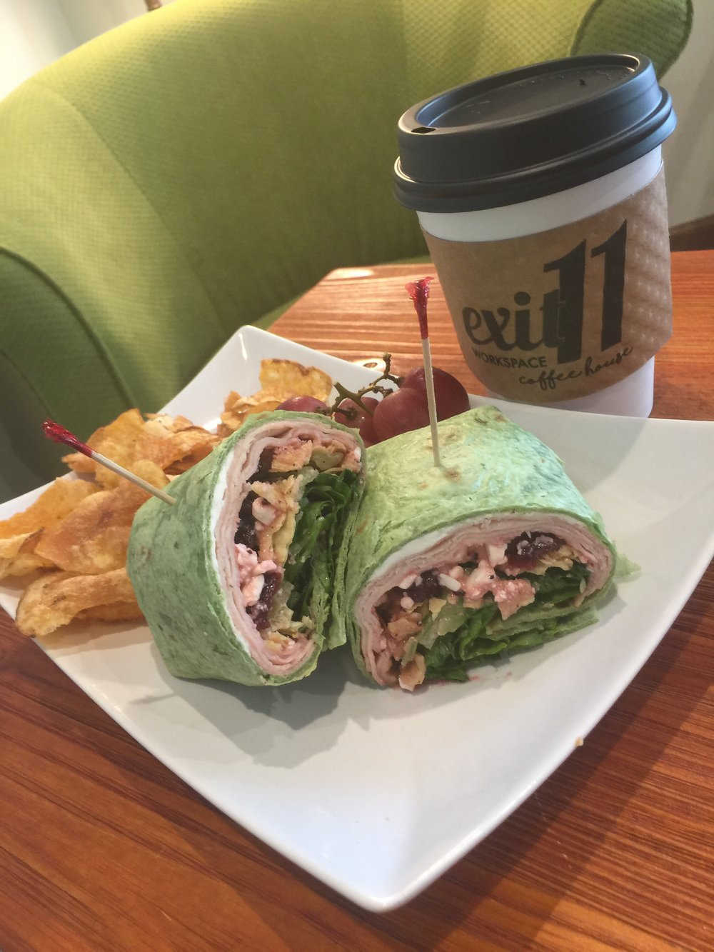Turkey Spinach Wrap served with Billy Goat Chips