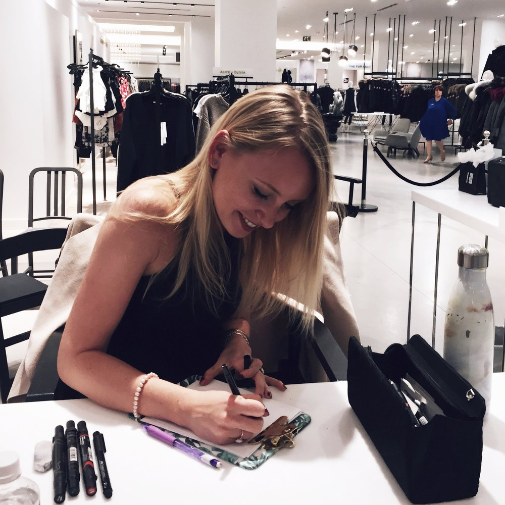 Sketching at Saks Fifth Avenue