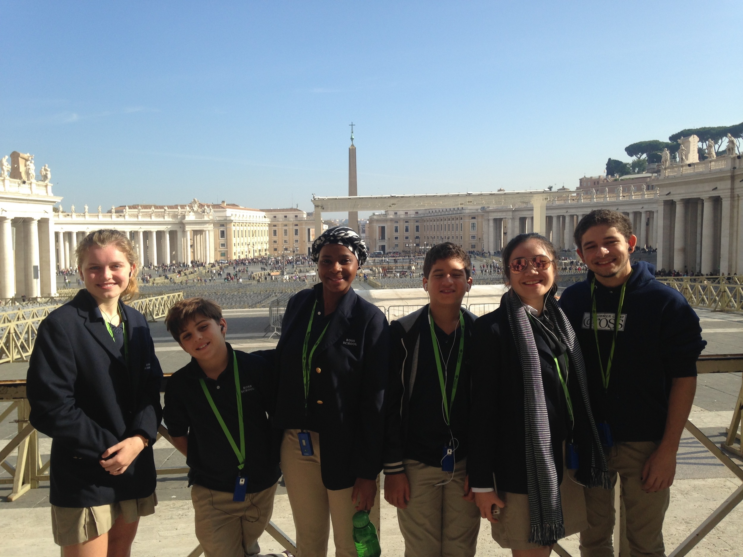 Ross Students Isabelle Rowe, Kely Archambault, Kwazi Nkomo, Diego Vanegas, Shanshan He, Malik Basnight at St. Peter's Square, Vatican City.