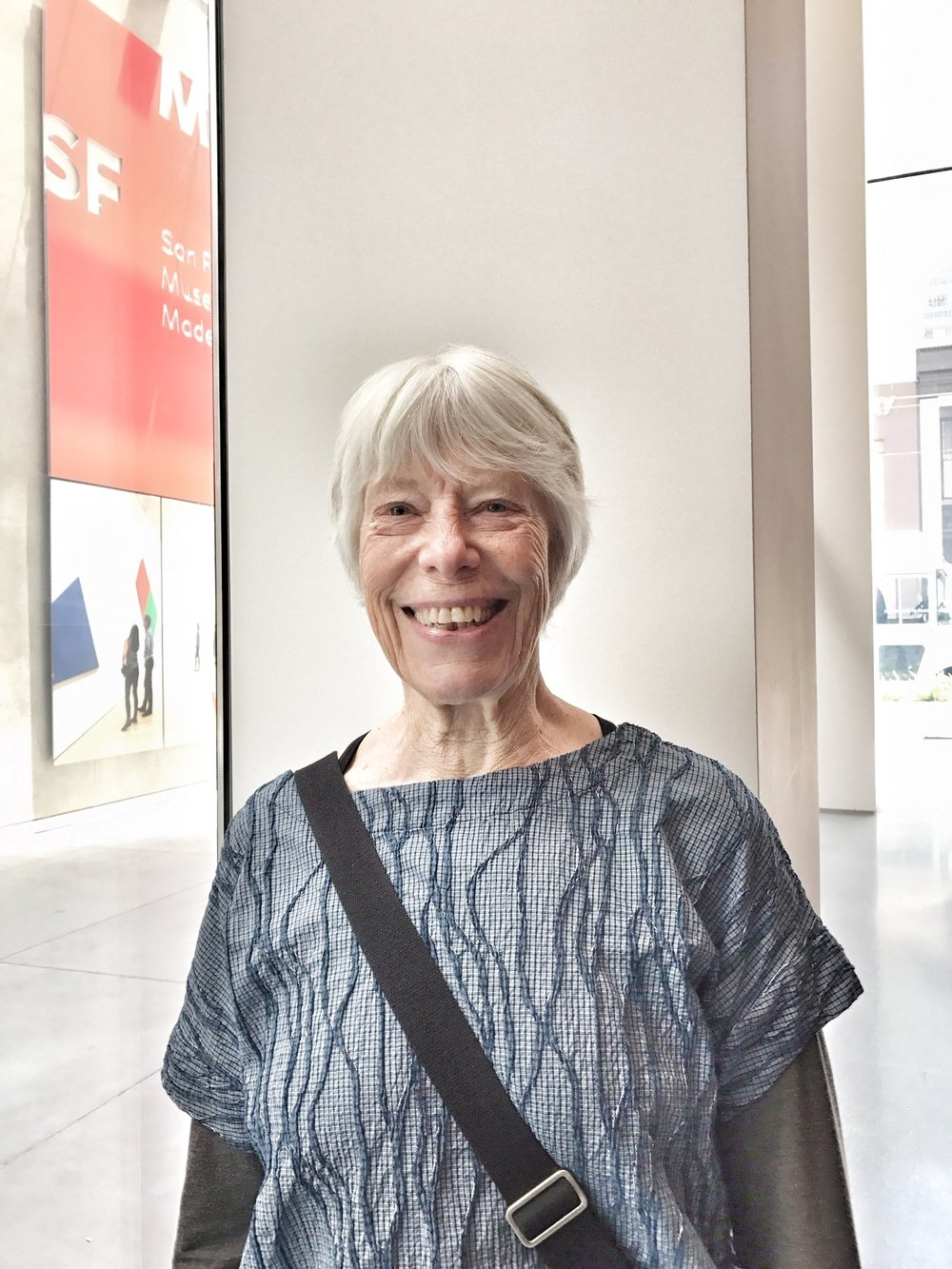 Marj at the SF MOMA on one of her trips to California.