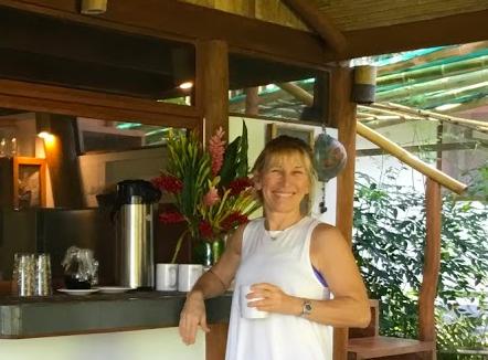Lori enjoying a refreshment in Costa Rica at our annual  Costa Rica Retreat.
