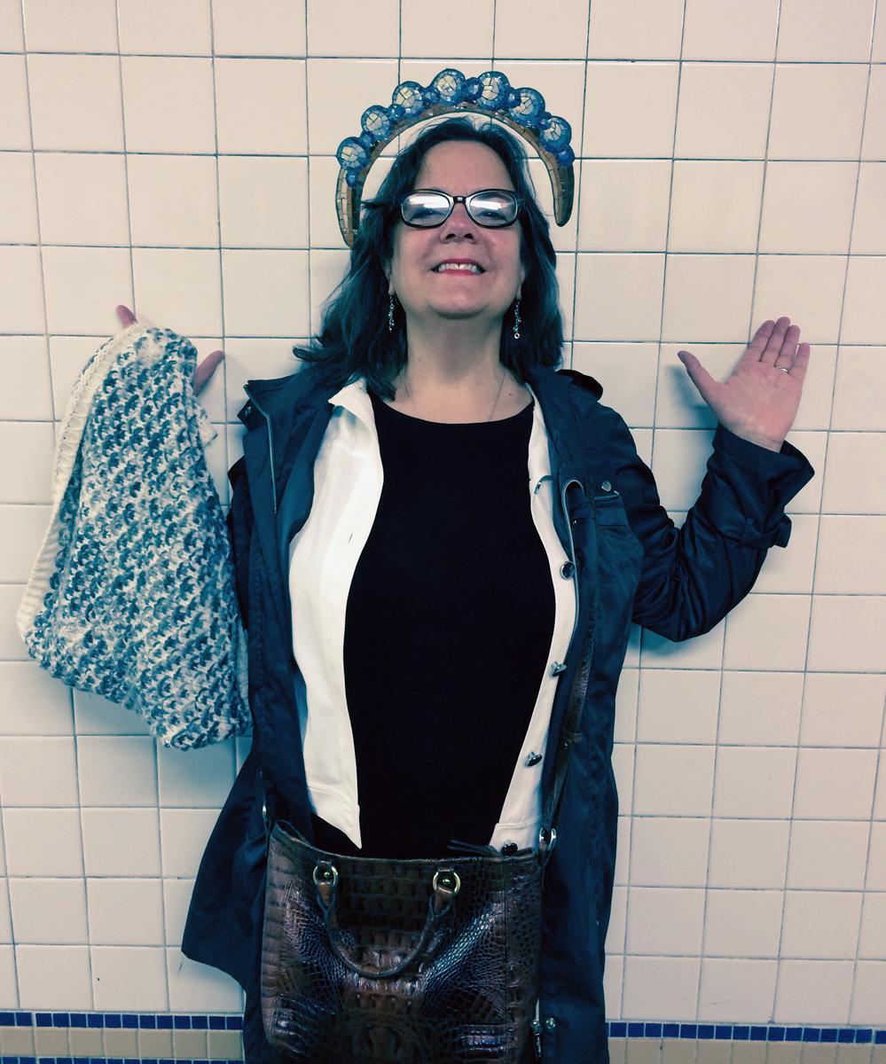 Ellen having fun in NYC subway 1