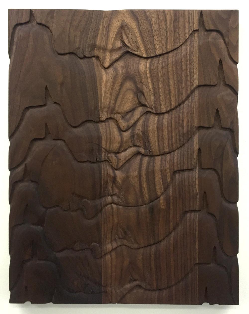 """Untitled (The Violent), 2017, walnut, 18"""" x 14"""""""