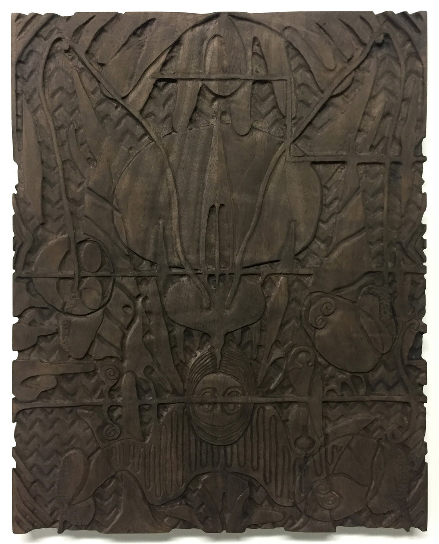 "Untitled (Lucifer), 2017, oxidized walnut, 18"" x 14"""