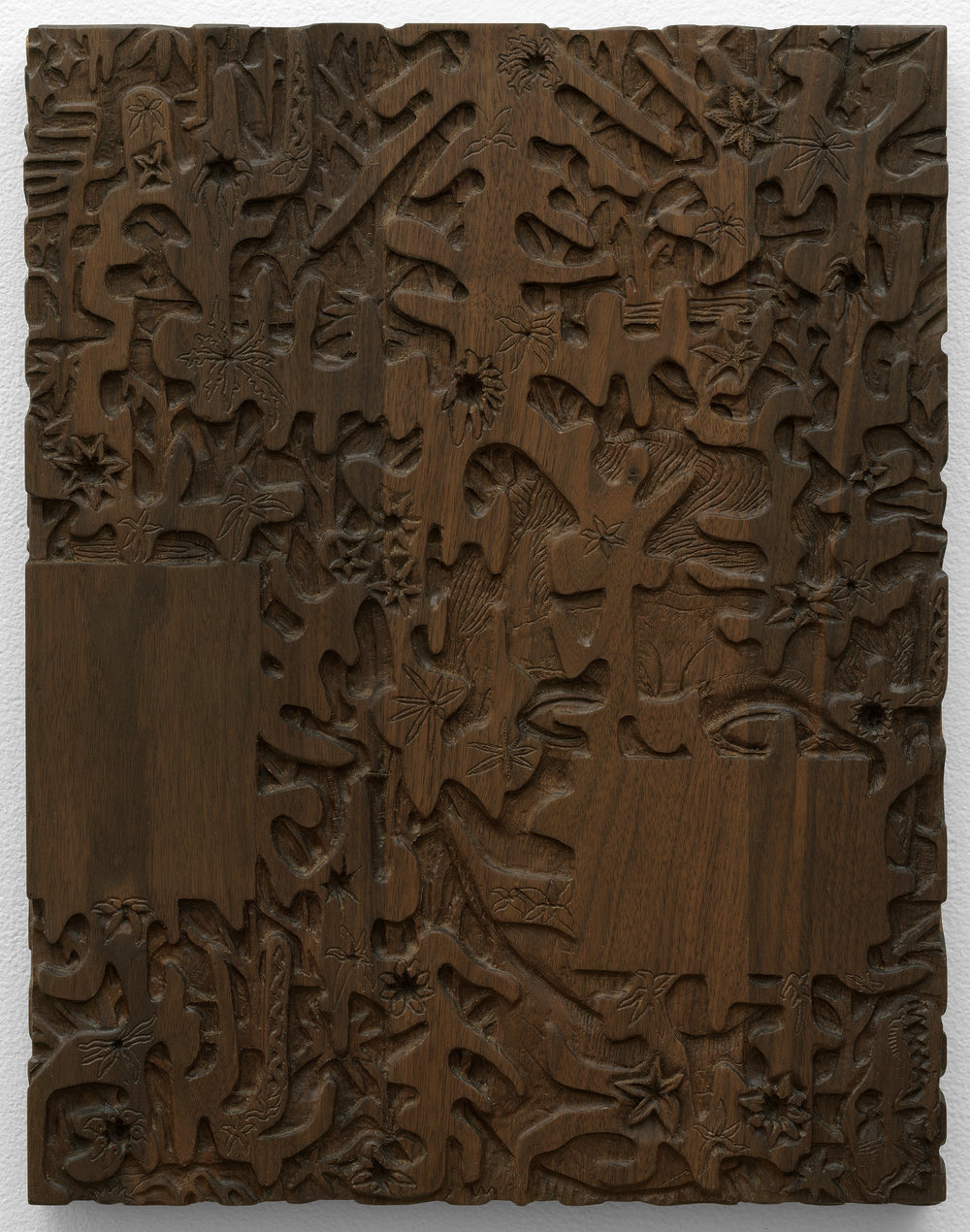 "The Dark Wood of Error , 2017, walnut, 18"" x 14"""