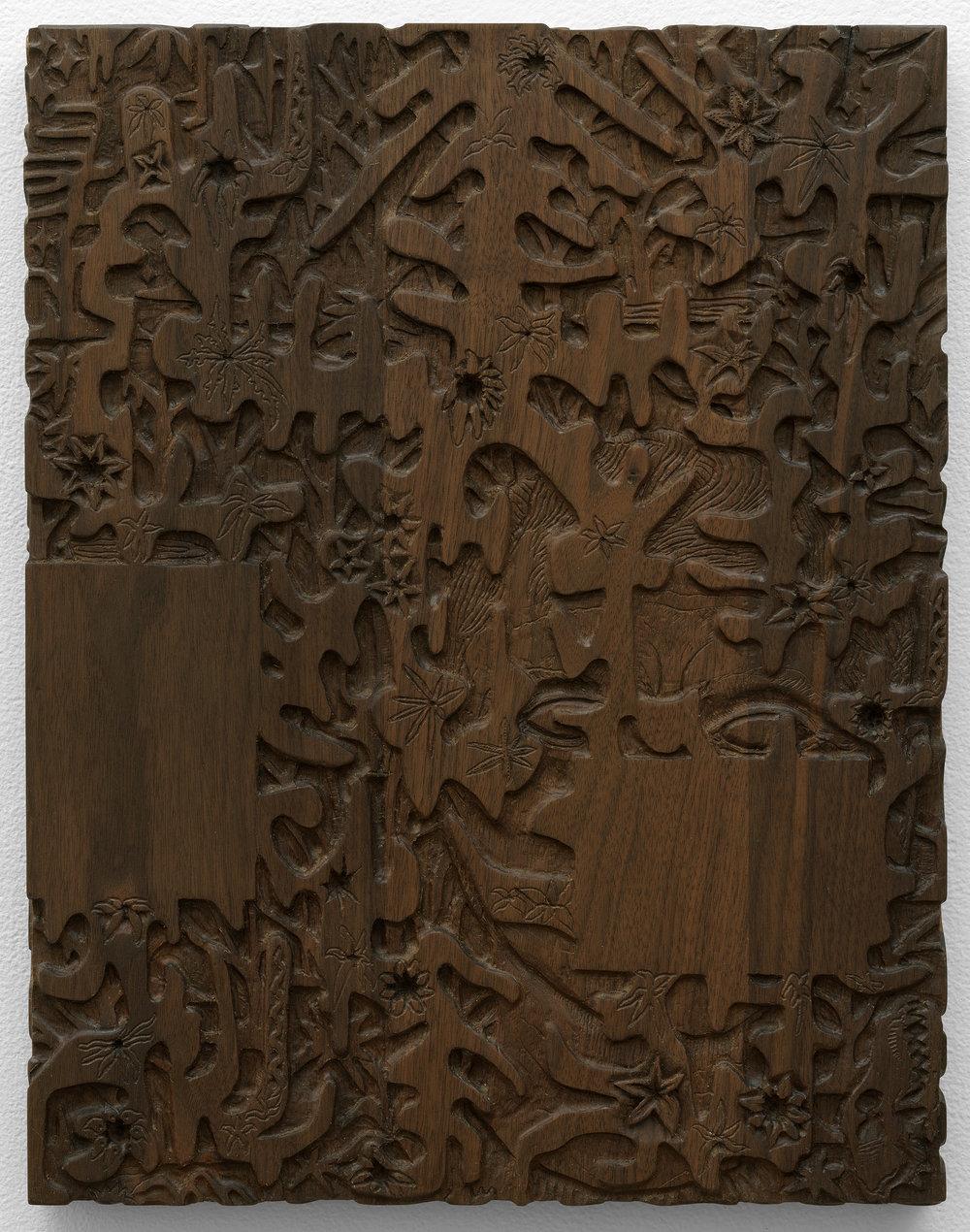 """The Dark Wood of Error , 2017, walnut, 18"""" x 14"""""""