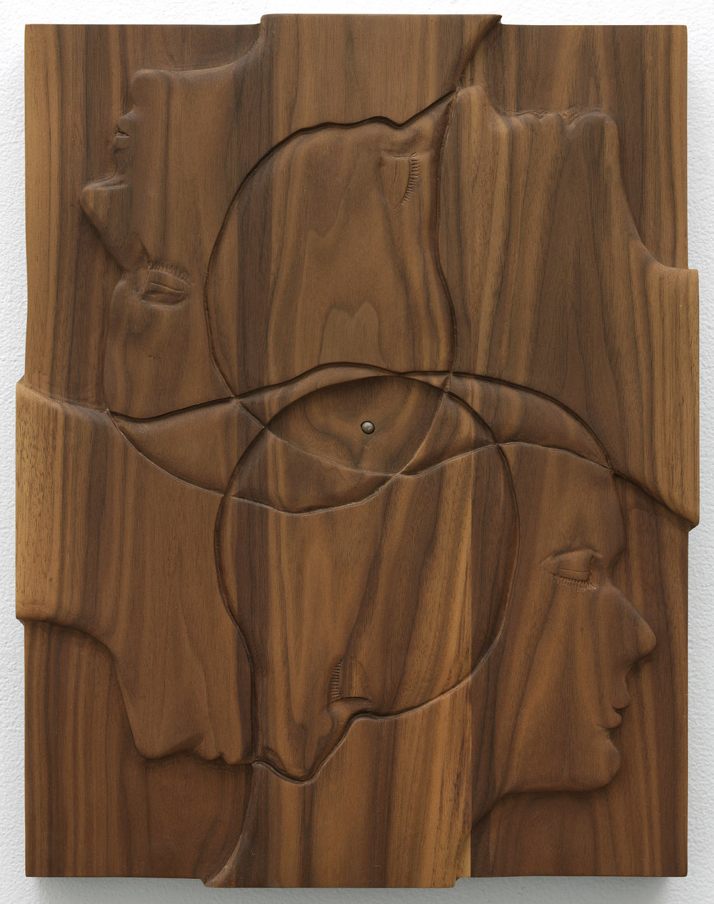 "Moonroof (Fontanel) , 2018, walnut and meteorite, 18"" x 14"""