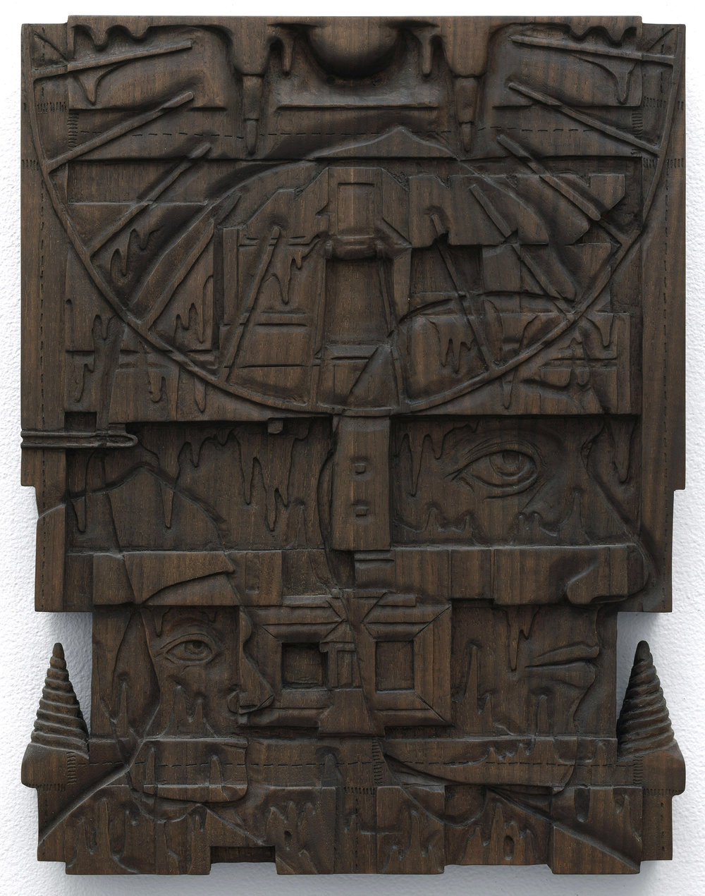"""The Pilgrim and the Picture Box , 2018, oxidized walnut, 18"""" x 14"""""""