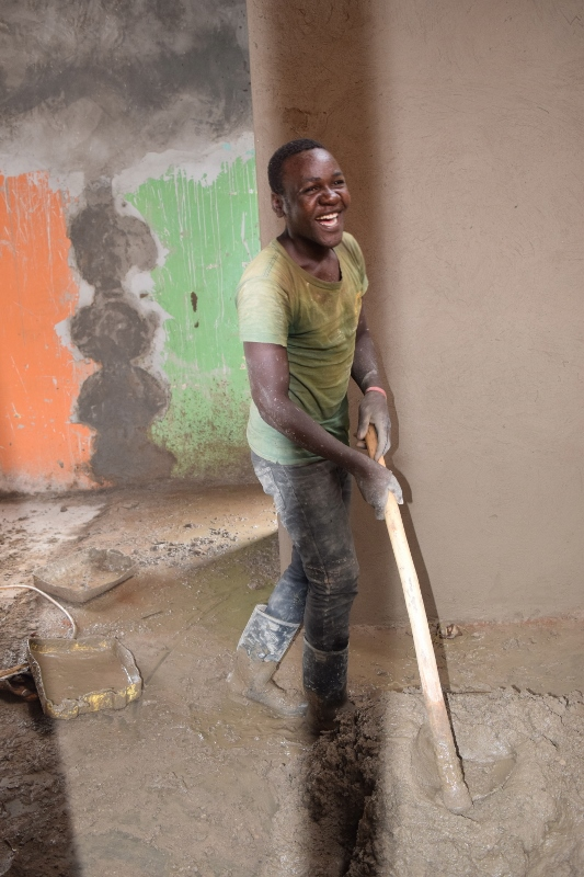 Damien working on the WCIA Primary Dormitory Construction.