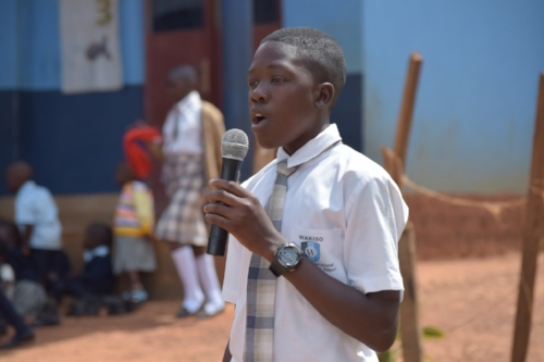 Joseph, Senior 2, speaking at an all-schools assembly.
