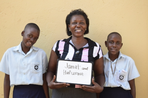 Regina with Janat and Hafuswa on the first day of school.