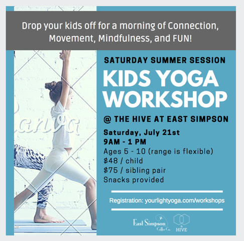 Kid S Yoga Workshop In The Hive East Simpson Coffee Company