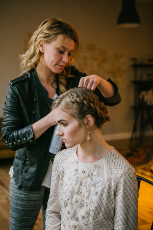 Meredith rocking dutch braids by Sarah. Photo by Emily Tebbetts Photography.