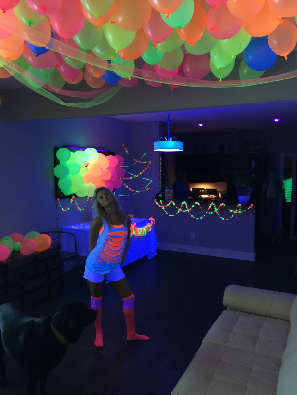 Fallon, the hostest with the mostest, and her house-turned-blacklight-party deckout...