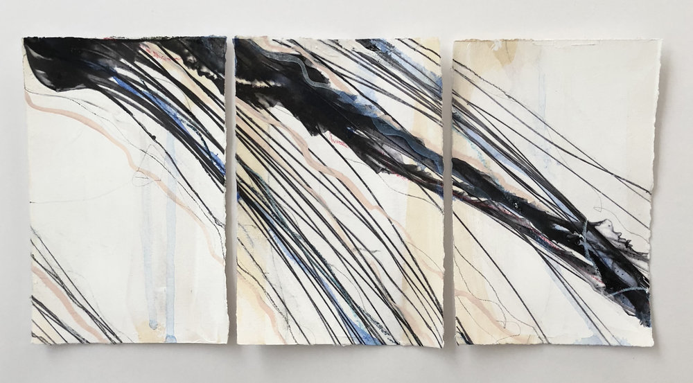 """Wanderlust,""  Triptych   Mixed Media on Paper, 20x12"" with frame,  AVAILABLE    at Anne Irwin Fine Art"