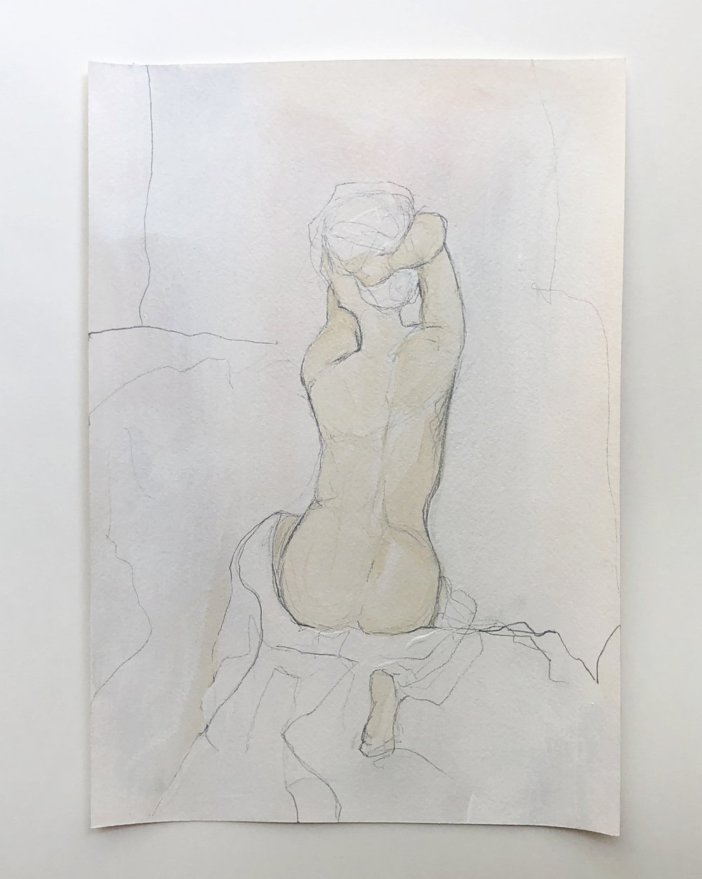 """Figure Study"" series   $150 - Acrylic and graphite on archival paper / 8x11"" / Available at Lyons Share Gallery"