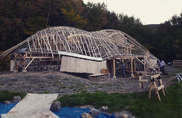 Then things continued to happen! #designbuild #collaboration #cheticamp #capebretonnationalhighlands #experimental #architecture #progress #dalhousie #uncc #uaz #gridshells #stainlesssteel