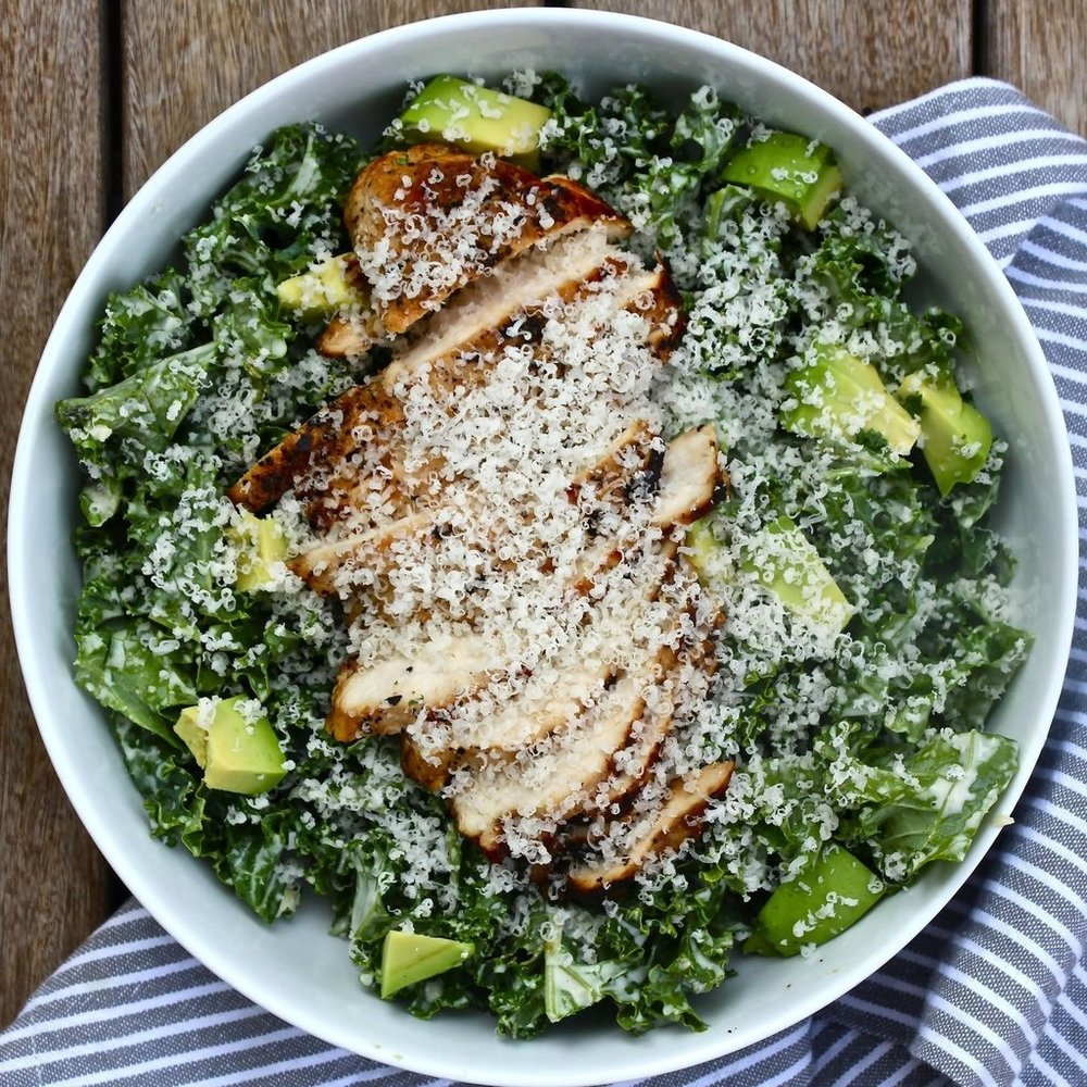 AVOCADO & KALE CAESAR WITH GRILLED CHICKEN - $38