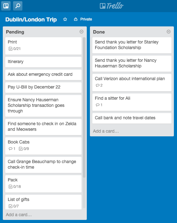 A look at how I organize my study abroad lists and tasks in Trello.