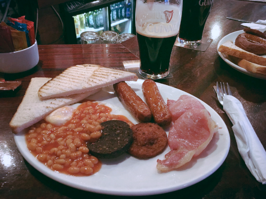 One of my fondest memories in Ireland was stopping into  The Boar's Head  on Capel Street in Dublin. It was Christmas Eve, and almost nothing was open, but we managed to convince the owner to let us in early to enjoy a traditional Irish breakfast (stout and all).