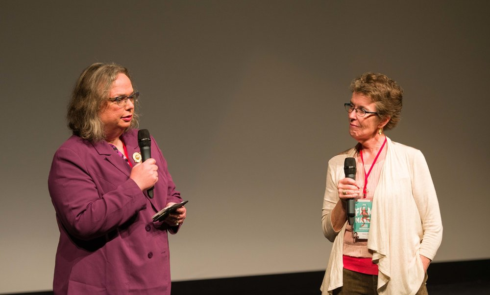 Christine Bush, the filmmaker's sister and a principal subject in the film, and Director Diana Newton answer audience questions at the RiverRun International Film Festival