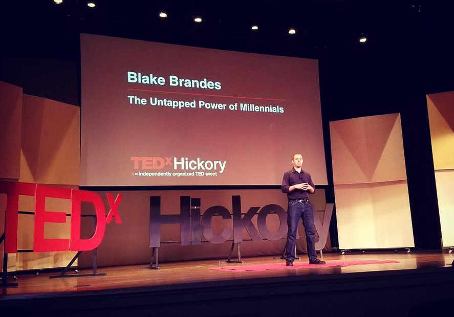 Blake Brandes at TEDx Hickory (photo credit: Ralph Griffith)- August 20, 2016