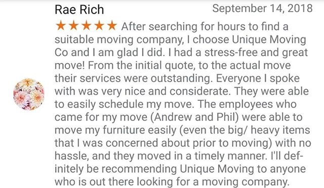 Another great 5 star review from a customer today!!! 😎 #Moving #movingsoon #camarillo #ventura #oxnard #uniquemovinginc #review