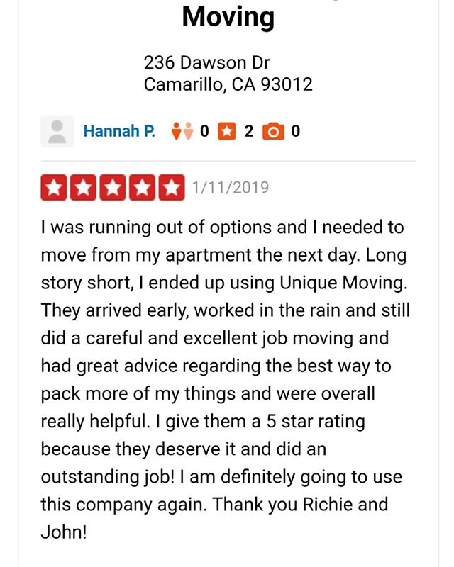 Great start to the New Year with an AWESOME review! #movers #Moving #camarillo #ventura #oxnard #review #movingcompany