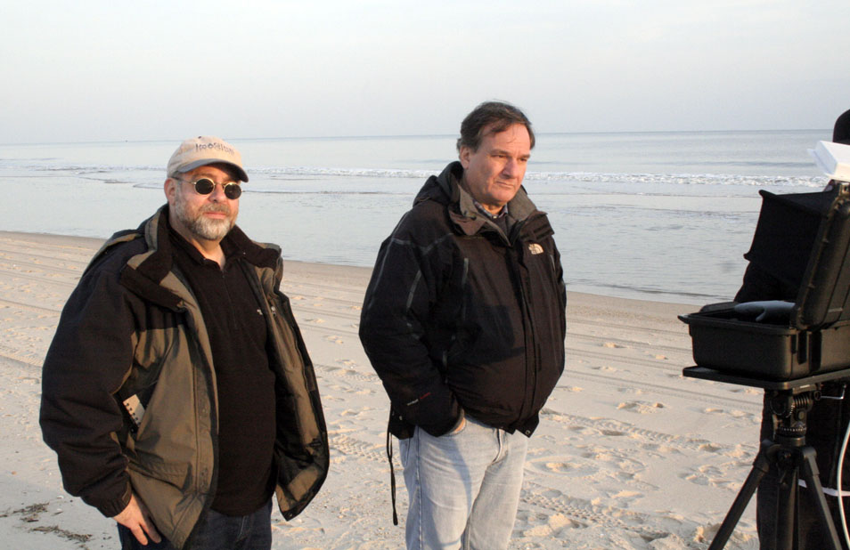 """In above photo: Brainstorm Digital's Rich Friedlander (left) and Academy Award-winning VFX supervisor Rob Legato (right) creating a shot for Martin Scorsese's up coming film """"The Wolf Of Wall Street"""", starring Leonardo DiCaprio."""