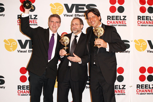 "Richard Friedlander (middle), along with Robert Stromberg, Paul Graff and David Taritero, takes home the VES award for ""Outstanding Supporting Visual Effects in a Broadcast Program""."
