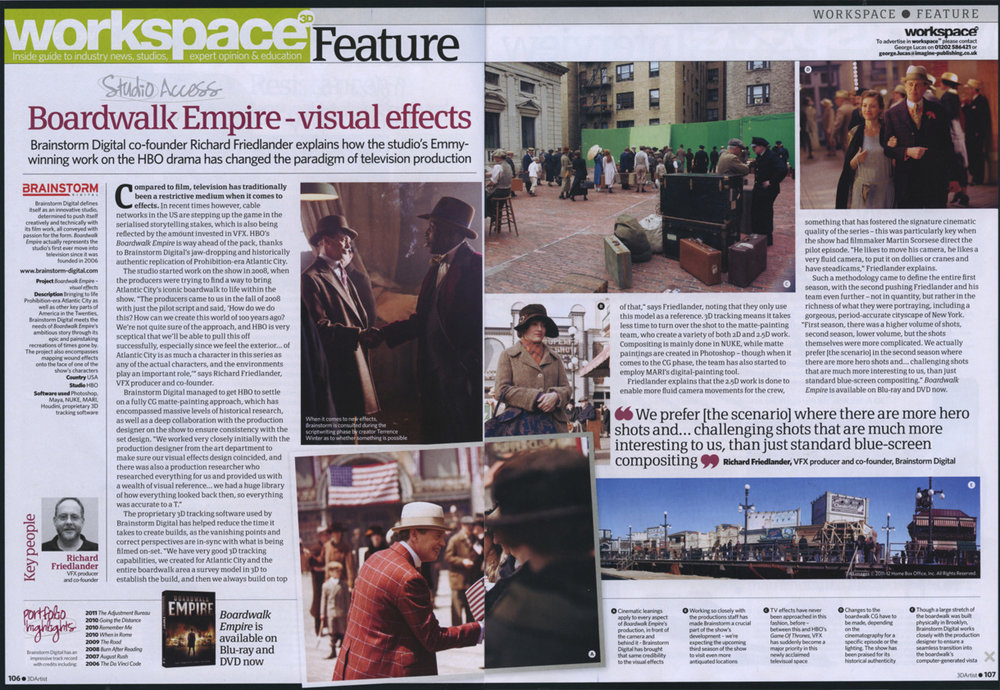 "3D Artist recently published an article in their magazine regarding Brainstorm Digital's involvement on season 1 and season 2 of HBO's ""Boardwalk Empire""."
