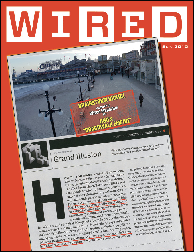 John Pavlus of WIRED interviewed Rich Friedlander, co-owner of Brainstorm Digital, about his company's role in creating the 1920's feel of Atlantic City using visual effects.  This was published in September's issue of WIRED.