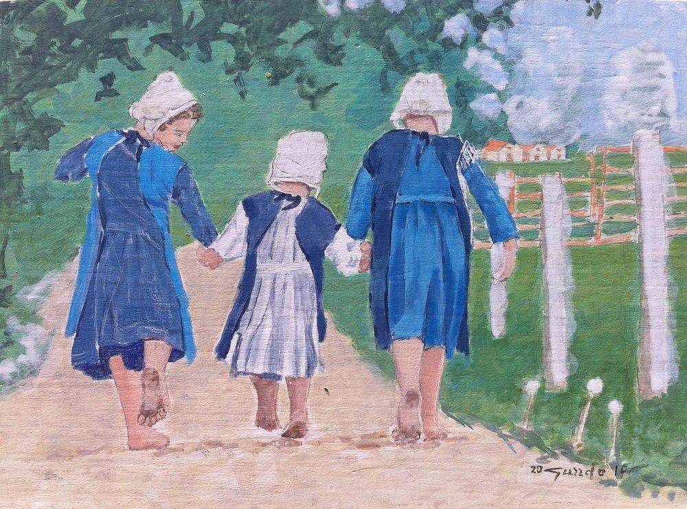 Tre bambine per strada