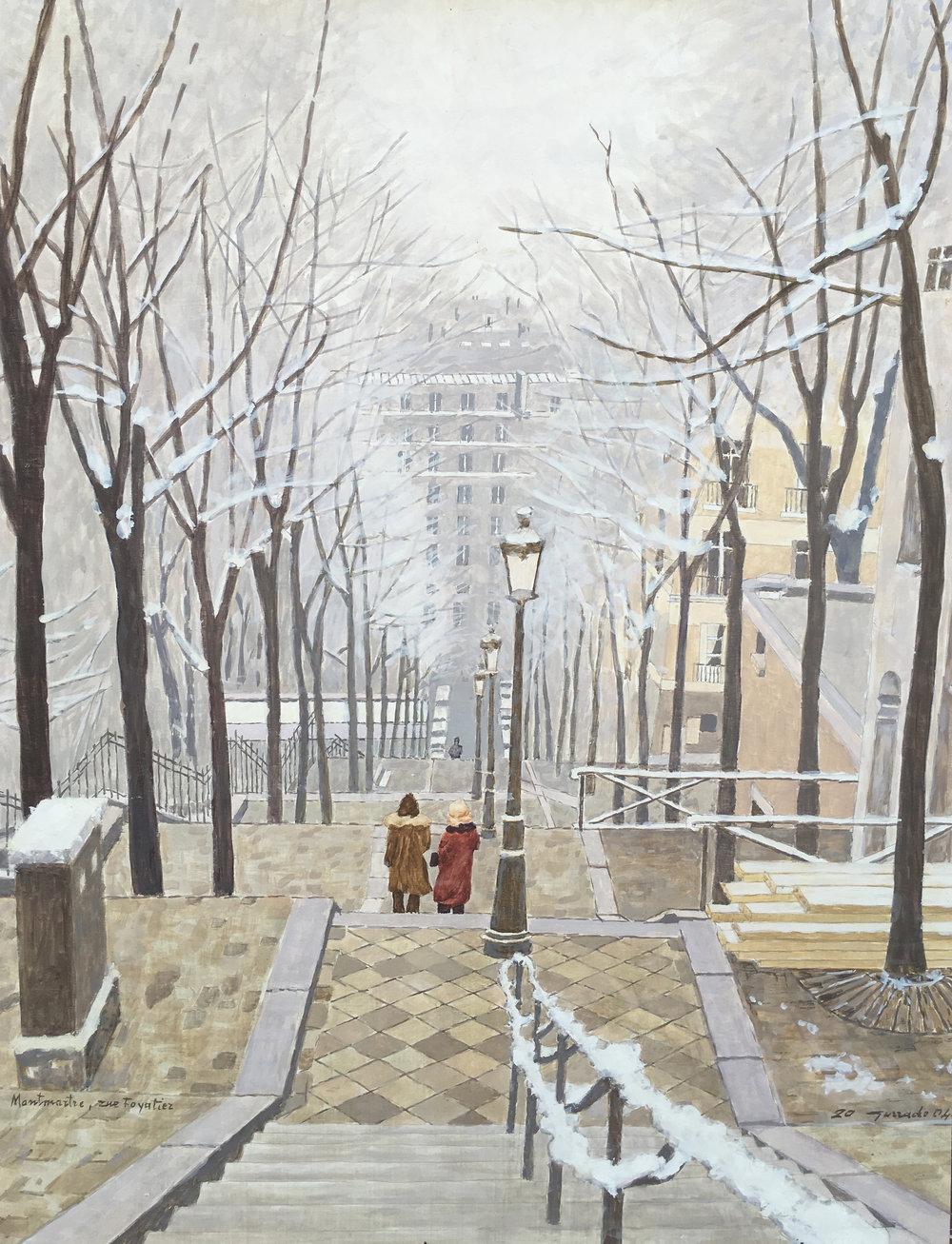 Montmartre La rue Foyatier d'inverno