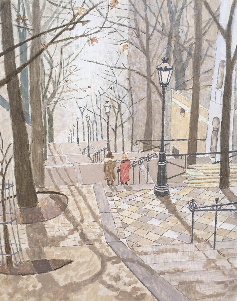 Montmartre La rue Foyatier d'autunno