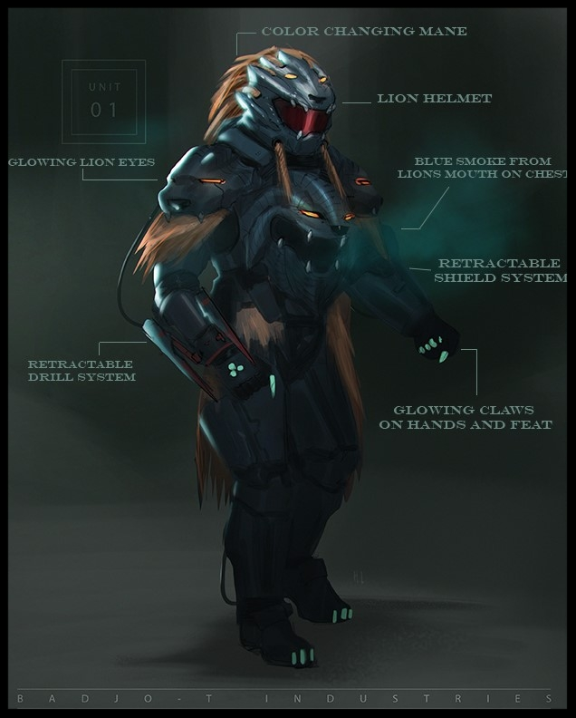 Check out the concept art of different types of badjosuits
