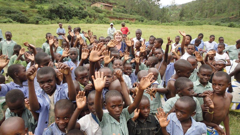 Karen with the school children.