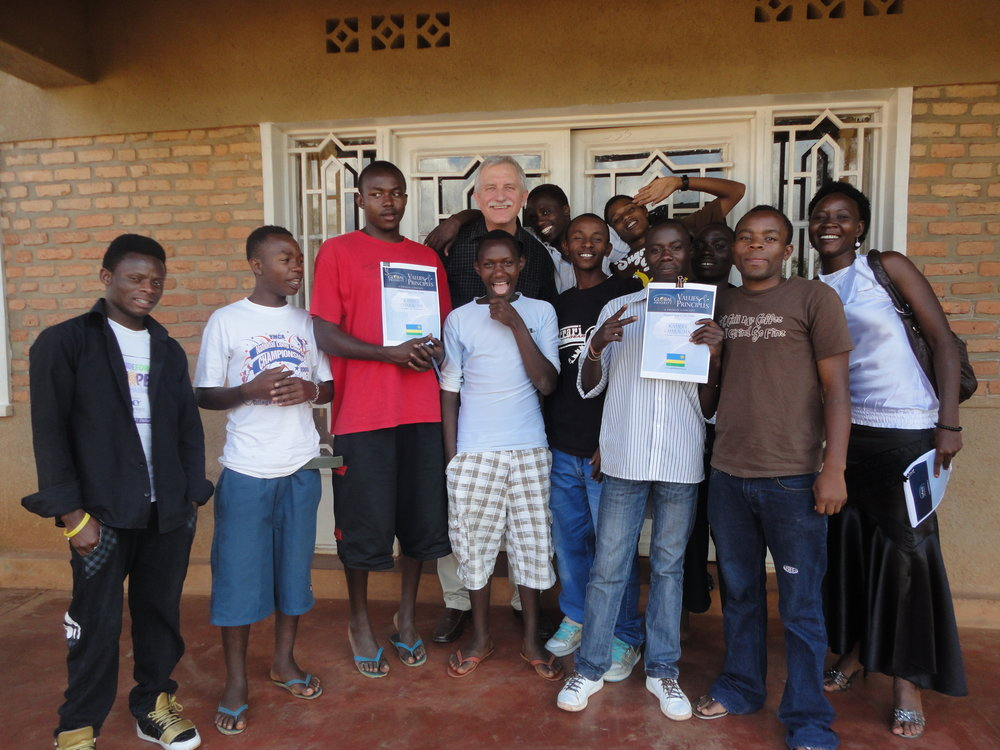 The young adults at Narrow Roads with their Kugana textbooks.