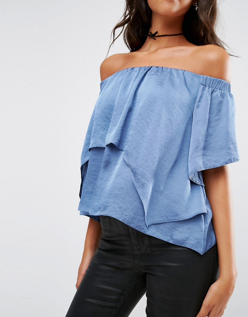 Asos   tiered off shoulder top in Satin