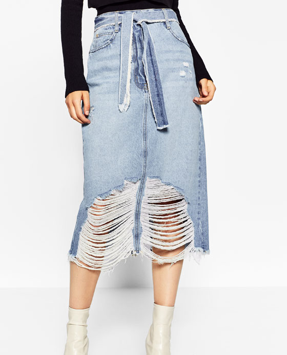 Ripped midi denim skirt from   Zara