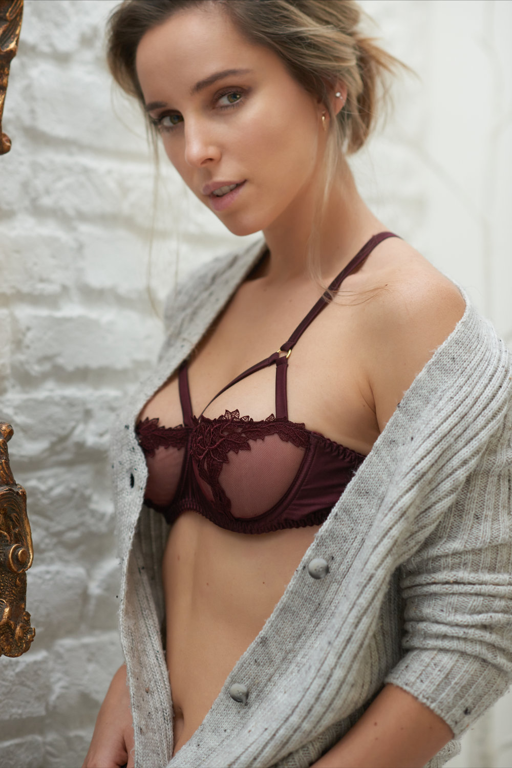 Zsanett is wearing Burgundy Strap Balcony bra